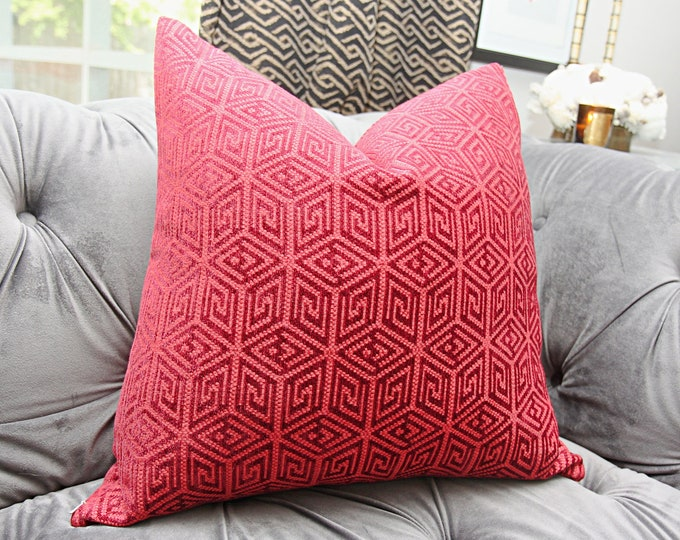 Schumacher Pillow Cover - Raspberry Red and Burgundy Geometric Pillow - Greek Key Pillow Cover - Throw Pillow - Bohemian Decor - Mid Century