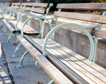 Pastel Park Bench Photography, Chicago Park City Urban Travel Print Neutral Dreamy Wanderlust Color Wall Art