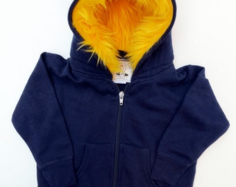 Baby Monster Hoodie - Navy blue with yellow  - 6 month  -  monster hoodie, horned sweatshirt, infant jacket, great baby gift