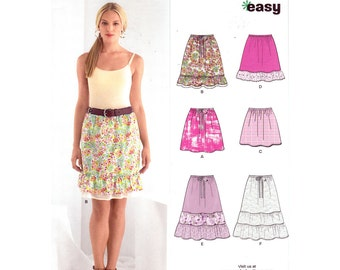 Womens Skirt Pattern New Look 6031 Easy Tiered Skirt or Pull-On Mini Skirt Womens Sewing Pattern Size 8 to 18 UNCUT