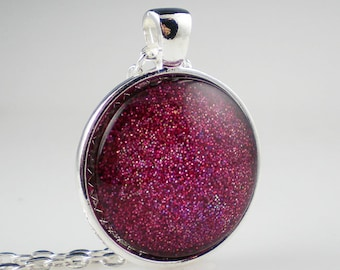 Purple Red Glitter Nail Polish Necklace Purple Medallion Nail Polish Jewelry