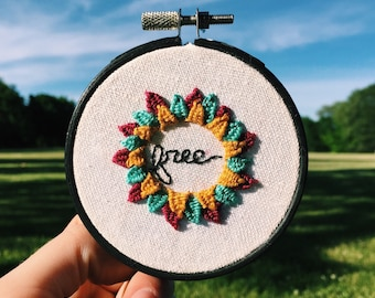 SALE Free Embroidery With Woven Picots in Embroidery Hoop