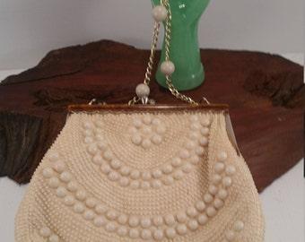 Vintage Beaded Handbag,Plastic Beaded Faux Tortoise Shell Accent Handbag, Vintage Chain Handle Shoulder Handbag From Hong Kong,
