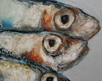 SARDINES FISH - Giclee print from my original oil painting -  Art