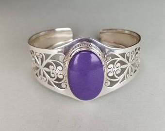 Rare Bright Purple Sugilite Oval Stone Sterling Silver Cuff Bracelet - Fits up to 9 inch wrist
