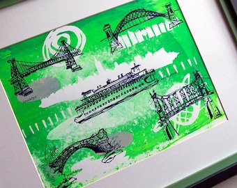 THE FIVE BOROUGHS #08 | screen printed travel sketches | New York City bridges | green and blue | by Kathryn DiLego