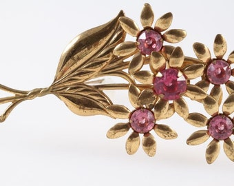 1940s art nouveau pin brooch | 1940s jewelry | 1940s big brooch | Large gilt flower brooch pin | pink rhinestones pin shabby chic vintage |