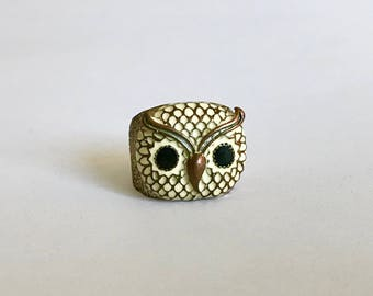 Large Vintage Copper Tone White Enamel Owl Statement Ring - Size 6