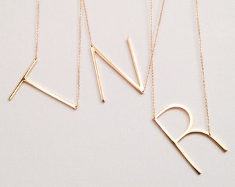 large initial necklace oversized letter alphabet personalized sideways initial oversize letter graduation graduate wedding bridesmaid
