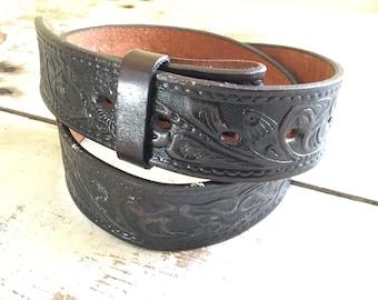 Tooled leather snap belt