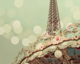 Paris Photography, Eiffel Tower, Carousel, Pastel, Nursery Decor, Bokeh, Pink, Pale Blue, Travel Photo, Large Wall Decor, France Lover, Gift