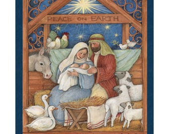 Nativity Fabric Panel Mary and Joseph Baby Jesus Fabric From Springs Creative 100% Cotton