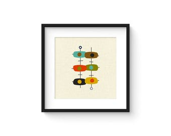TANDEM - Square Version - Giclee Print - Mid Century Modern Danish Modern Minimalist Cubist Modernist Abstract Eames
