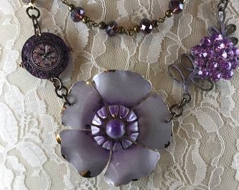 Repurposed Necklace, Assemblaged Necklace, Statement Necklace, Vintage inspired Necklace