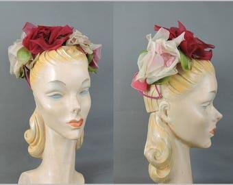 Vintage 1950s Pink Floral Hat, Chiffon Flowers Velvet Bow Crown 1960s