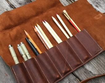 Leather Fold Over Pencil Roll