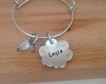 Girls name bracelet, flower girl charm, flower girl gift for wedding day, junior bridesmaid gift, thank you flowergirl, easter gift for girl