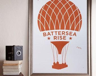 Battersea Rise A2 Screenprint / Battersea Power Station Screenprint, Hot Air Balloon Poster, Graphic Poster, Graphic Art, Bronze Screenprint
