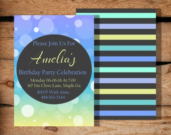 Birthday invitations / Birthday invitations for girls / Birthday invitations for teens / Girl first birthday / Printable Party invitation