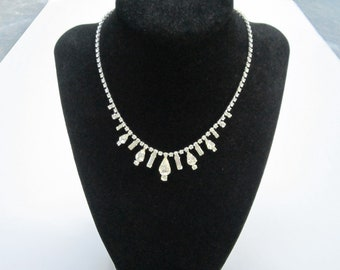 Vintage Wiesner clear rhinestone necklace - estate jewelry
