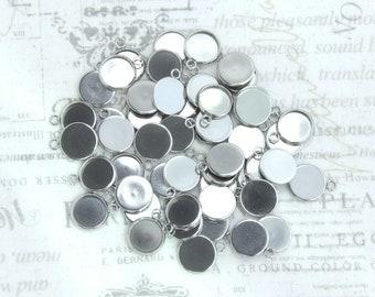 50 12mm Steel Bezel Tray Blank Bezel 12mm Cabochon Setting 12mm Round Necklace Bezel Tray Setting