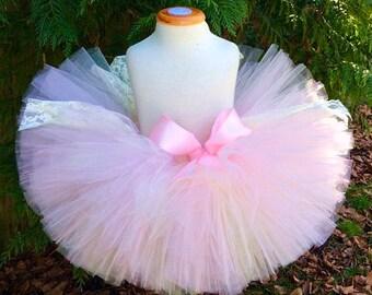 Pink Tutu, Lace Tutu, Newborn Tutu, Pink Baby Tutu, Toddler Tutu, Recital Tutu, Pink Ivory Tutu, Sewn Tutu, Tutu, Birthday Tutu, Photoprop