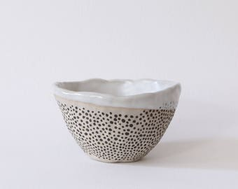 Ice Cream Bowl: White Dense Dots (Small)
