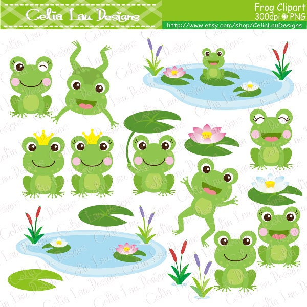 frog clipart frogs clip art lilypads frogs cat tail cute rh etsy com frogs clipart images clipart frogs in a pond