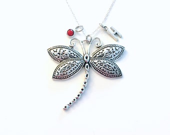 Dragonfly Necklace, Dragon Fly Jewelry, Large Statement Charm, Sterling Silver 925 Chain Birthday Present wings Personalized Dragonflies her