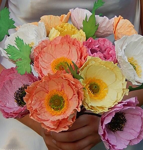 Paper poppy wedding bouquet icelandic poppies wedding like this item mightylinksfo