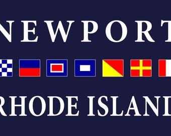 Newport, Rhode Island - Nautical Flags (Art Print - Multiple Sizes Available)