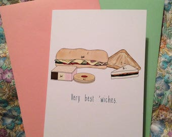 Very best 'wiches: blank greeting card/notecard for anyone who deserves some best wishes...or wants a card with sandwiches on it!