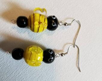 Glass Beaded Bumblebee Earrings