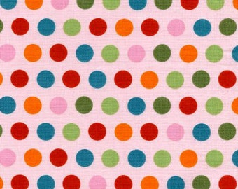 Sale - pink polka dot fabric, Riley Blake, Precious Multi Dots on light pink from Riley Blake