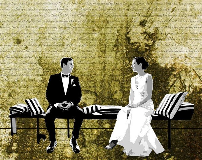 Custom Canvas Wedding Gift with Song Lyrics or Wedding Vows 16x20