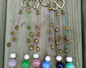 NECKLACE & EARRINGS SET crystal beads and fresh water pearls