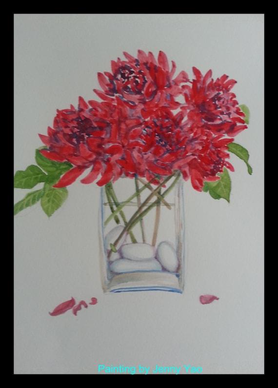 original wasser farbe malerei rote blume in vase in. Black Bedroom Furniture Sets. Home Design Ideas