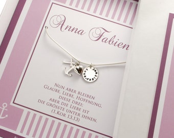 Name necklace engraved christening necklace with gift box faith love hope
