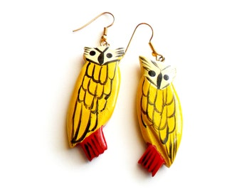 Vintage Painted Wood Owl Earrings Pierced Wood Earrings French Wire Earrings Painted Bird Earrings Wooden Dangle Hand Painted Owl