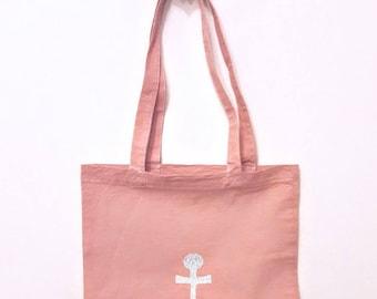 Tote bag dark pink and gold anchor