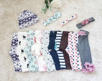 Baby & children leggings/pants cotton jersey/stretchy - different fabrics/prints