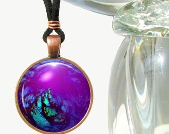 Purple Necklace, Energy Pendant, Chakra Jewelry, Reiki Pendant Necklace