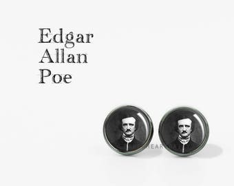Edgar Allan Poe Earrings - Bookworm for Her - Literary Jewelry - Book Jewelry - Poe Stud Earrings - Literature - Book Gifts - (H7750)