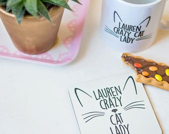 Crazy cat lady cork coaster