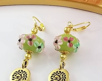 Floral lampwork glass leverback earrings, tree of life earrings, gold charm earrings, pink and green flower earrings, bridal earrings