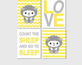 Yellow and grey lamb nursery Art Print Set, neutral gender wall art,  sheep, chevron, giraffe, love, count the sheep and sleep - UNFRAMED