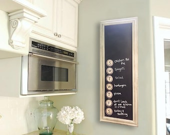 """Magnetic Kitchen Menu Chalkboard, 16"""" x 38"""", Comes with ArtMagnets!"""