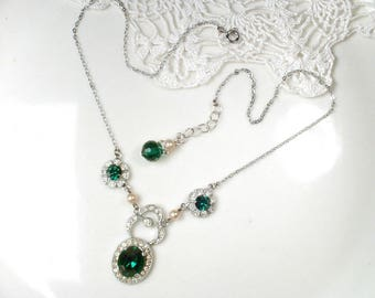 1930's Pearl & Emerald Rhinestone Necklace, Vintage Silver Pave Dark Green Bridal Necklace, 1920s Wedding Emerald Jewelry Downton Victorian