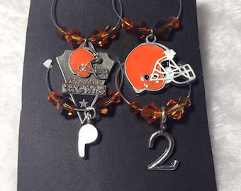 4 Pc. Cleveland Browns Wine Charm Set