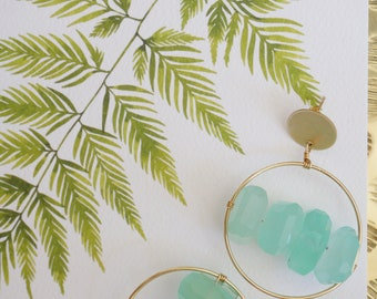 Chalcedony Hoops   Gold Hoops   Brass Circle   Gold Fill Post
